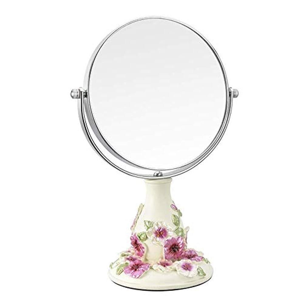 変装国際アフリカ流行の ビンテージ化粧鏡、鏡360°回転スタンド、1倍と3倍の倍率、ラウンドダブル両面回転化粧鏡