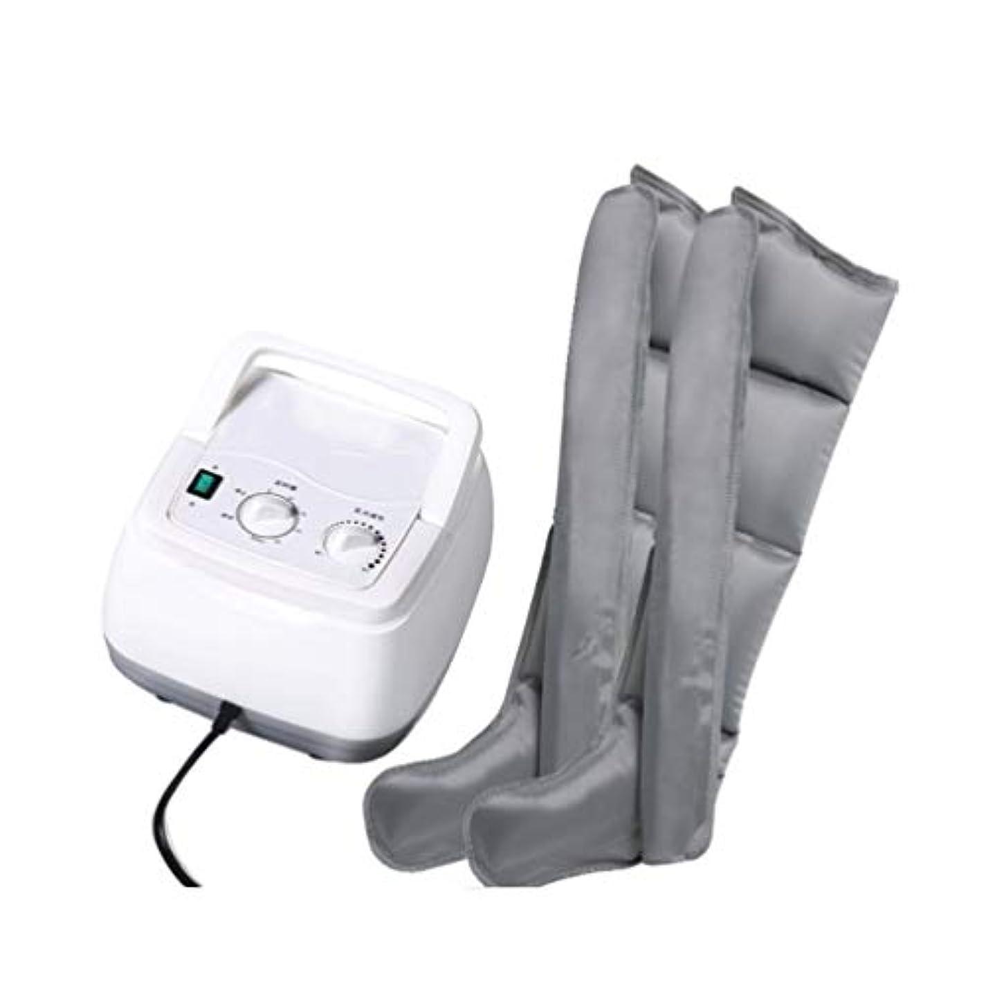 バースつぼみ経過足とふくらはぎの循環のための熱で空気圧縮脚マッサージャーマッサージ脚のラップは腫れや浮腫の痛みを助ける(グレー)