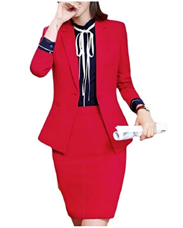 cheelot 女性ボタンオフィスは、ビジネスブレザーとハイウエストスカートセット