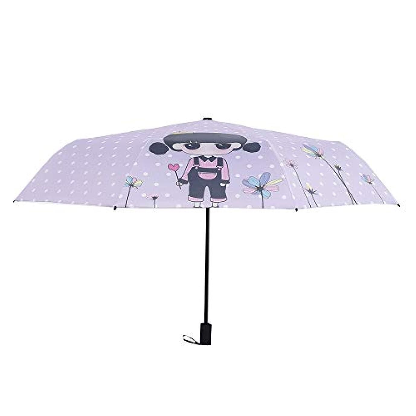 マラソン逃すリップ2018爆発モデル小さな新鮮なかわいいロリアニメ3つ折りの傘UV保護黒いプラスチックの傘