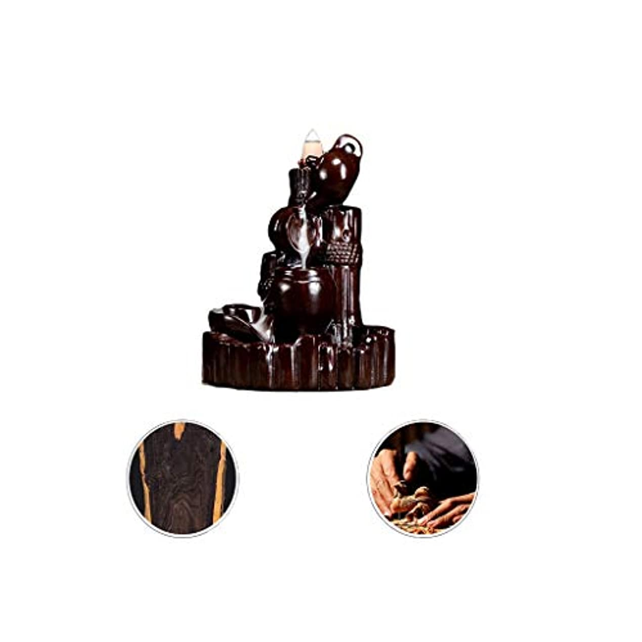 練る休眠白鳥芳香器?アロマバーナー 逆流香新古典香炉木製黒檀香バーナーアロマテラピー炉 芳香器?アロマバーナー (Color : Black and ebony)
