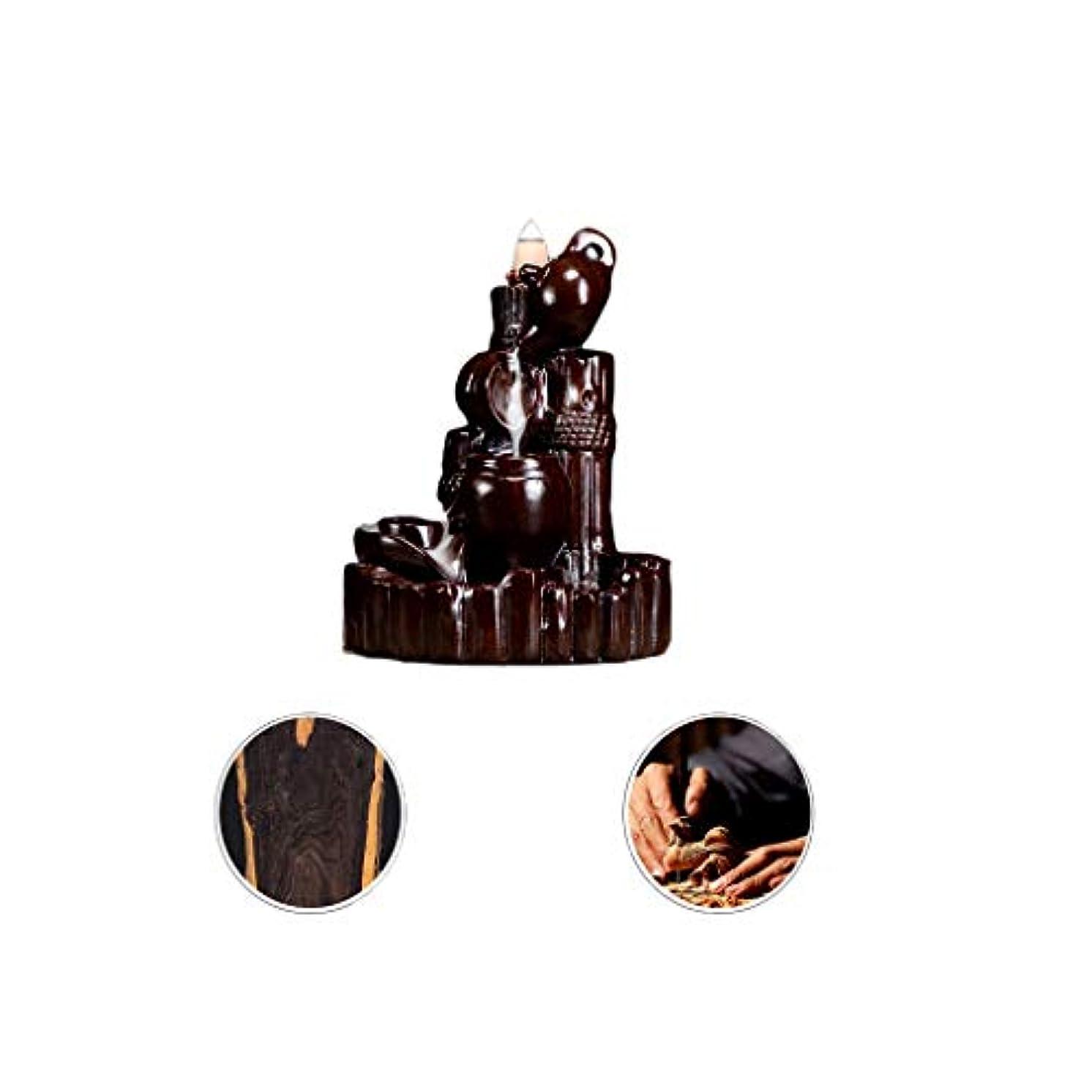 オーナメント調査変位芳香器?アロマバーナー 逆流香新古典香炉木製黒檀香バーナーアロマテラピー炉 アロマバーナー (Color : Black and ebony)
