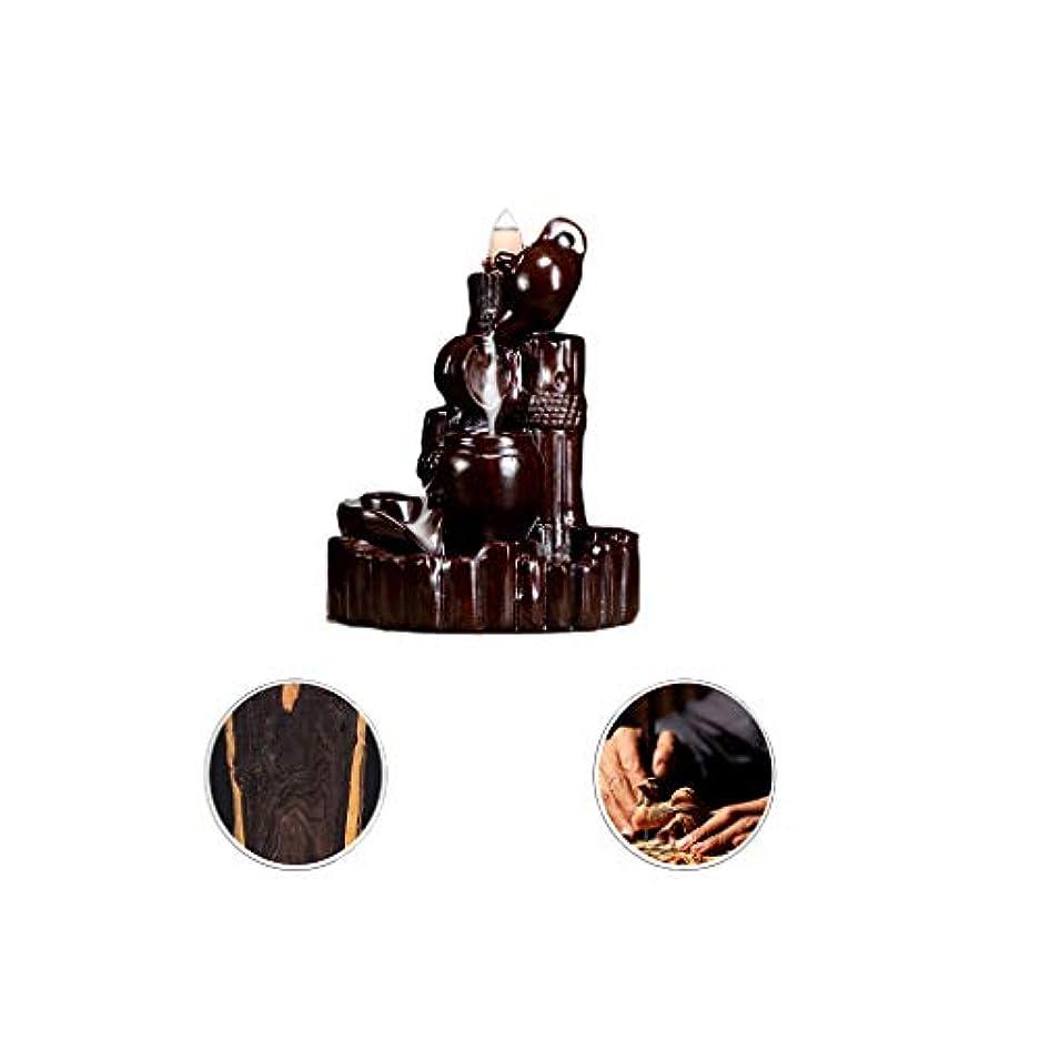 適応摂動逆芳香器?アロマバーナー 逆流香新古典香炉木製黒檀香バーナーアロマテラピー炉 アロマバーナー (Color : Black and ebony)