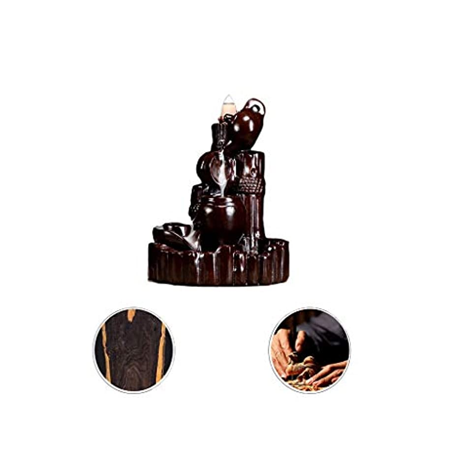桁立ち向かうサイトホームアロマバーナー 逆流香新古典香炉木製黒檀香バーナーアロマテラピー炉 アロマバーナー (Color : Black and ebony)