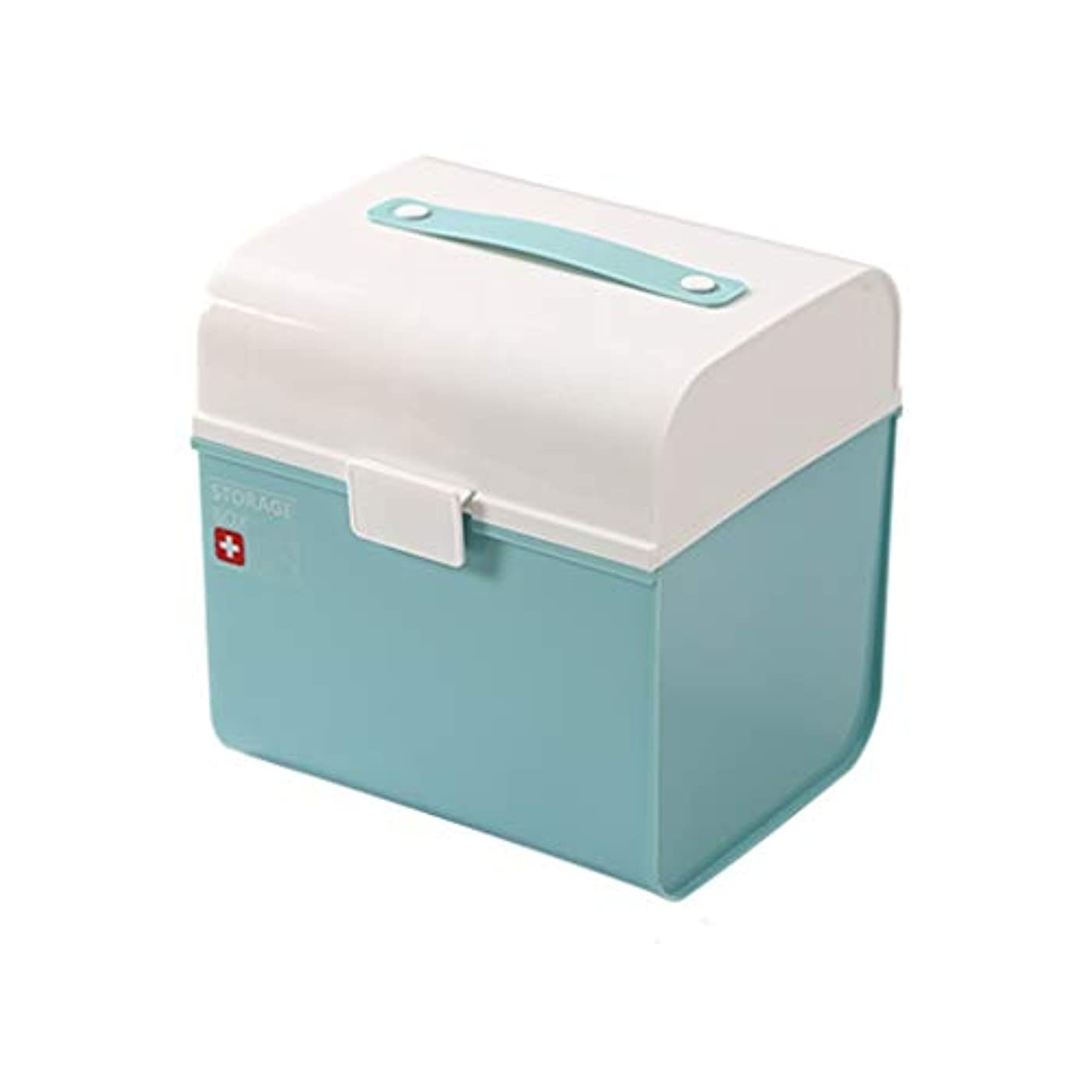 宇宙飛行士織る隙間IUYWL 家庭用薬箱、多層グリッド大容量救急箱、医師の訪問箱 (Color : Blue)