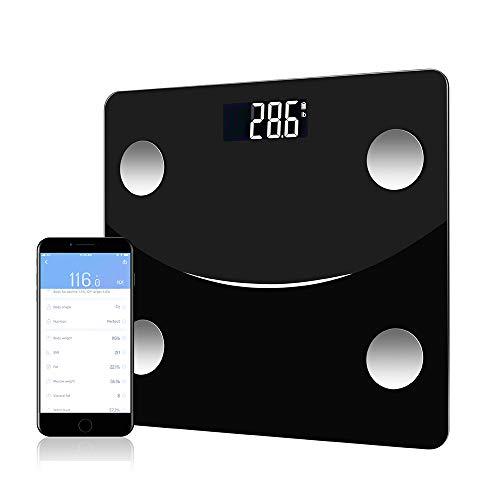 体重計 体組成計 体脂肪計 体重/BMI/体脂肪率/筋肉量/推定骨量/基礎代謝/骨格筋率/体脂水分 自動認識機能 高精度センサー デジタル体重計 Bluetooth IOS/Androidアプリで健康管理 180KGまで対応 日本語アプリ (black)