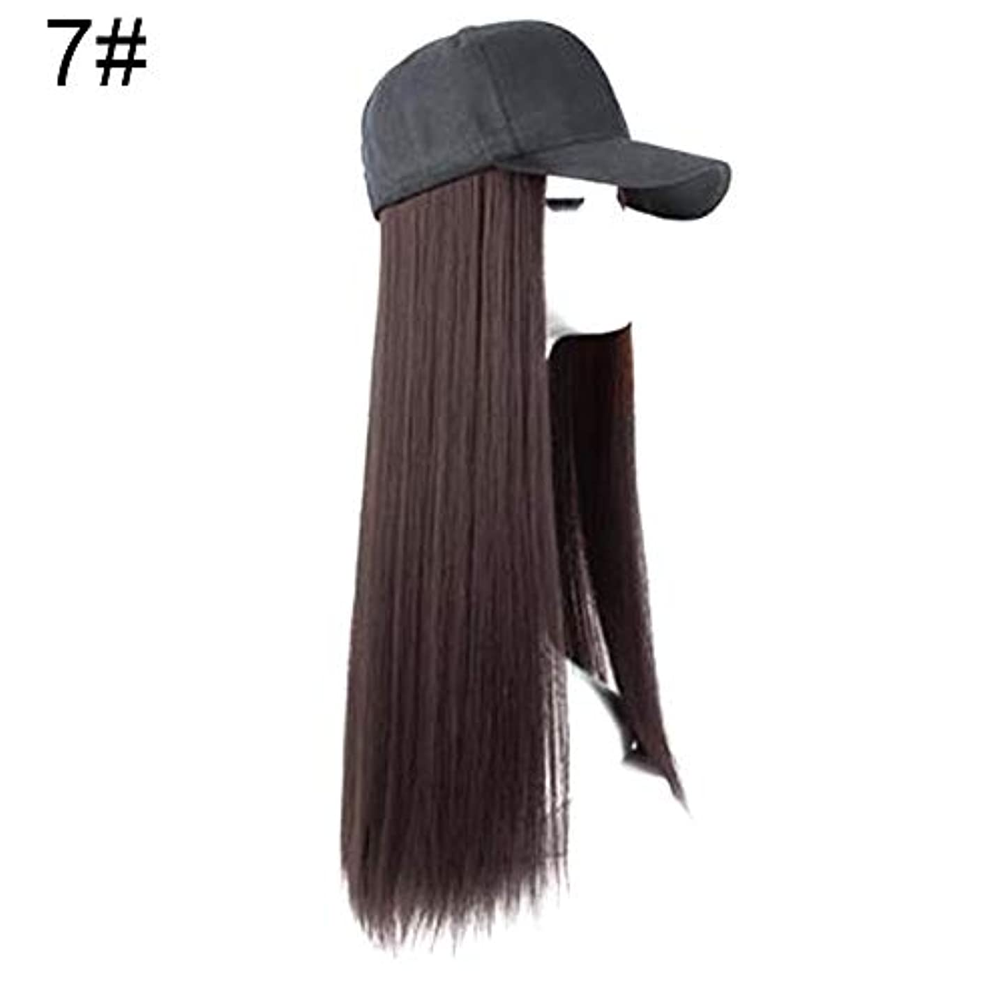 揺れる矢印写真を描くslQinjiansav女性ウィッグ修理ツールクリエイティブ女性2で1長いストレートカーリーヘアウィッグヘアピースと野球帽