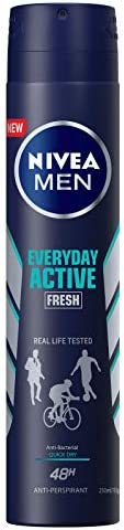 NIVEA MEN Everyday Active Fresh Aerosol Antiperspirant Deodorant Spray, 250 ml