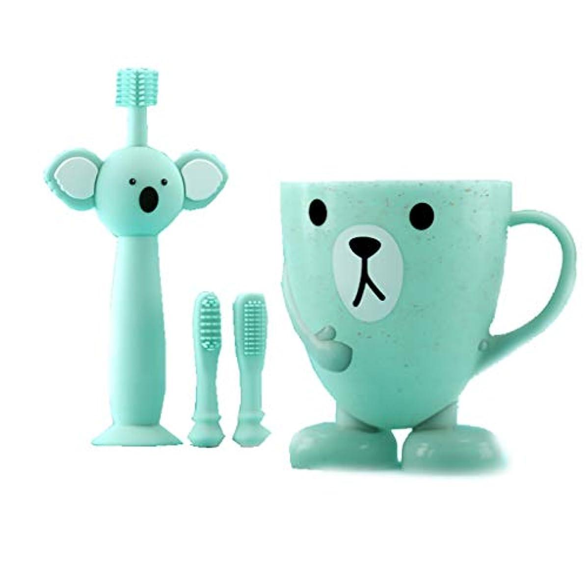 大陸意志踏み台赤ちゃんの歯ブラシの子供、360度きれいな柔らかい髪、慎重に選択されたシリコーン材料、歯をきれいにしながら歯茎をマッサージします。 (色 : B)