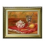 ルノワール グラスとレモン F6 油絵直筆仕上げ| 絵画6号 554×463mm 複製画 ゴールド