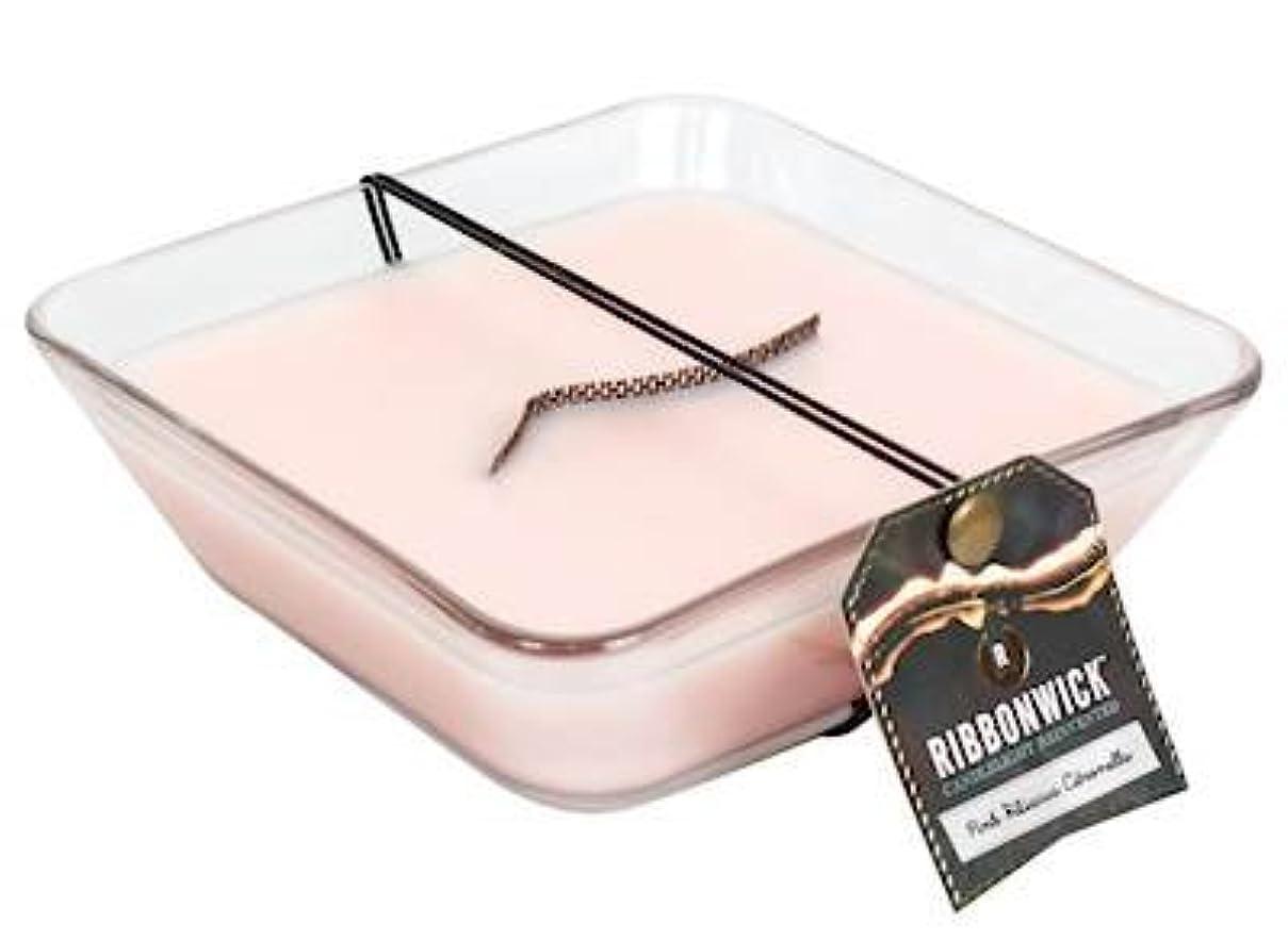 基準吹雪現代のピンクハイビスカス柄シトロネラ装飾ガラスMedium RibbonWick Scented Candle – アウトドアコレクション