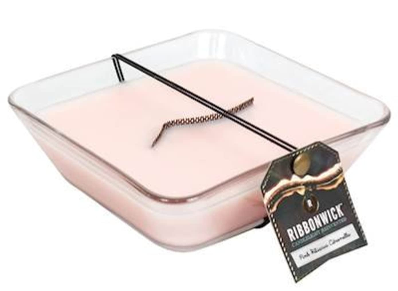 有害なウェイトレス導入するピンクハイビスカス柄シトロネラ装飾ガラスMedium RibbonWick Scented Candle – アウトドアコレクション