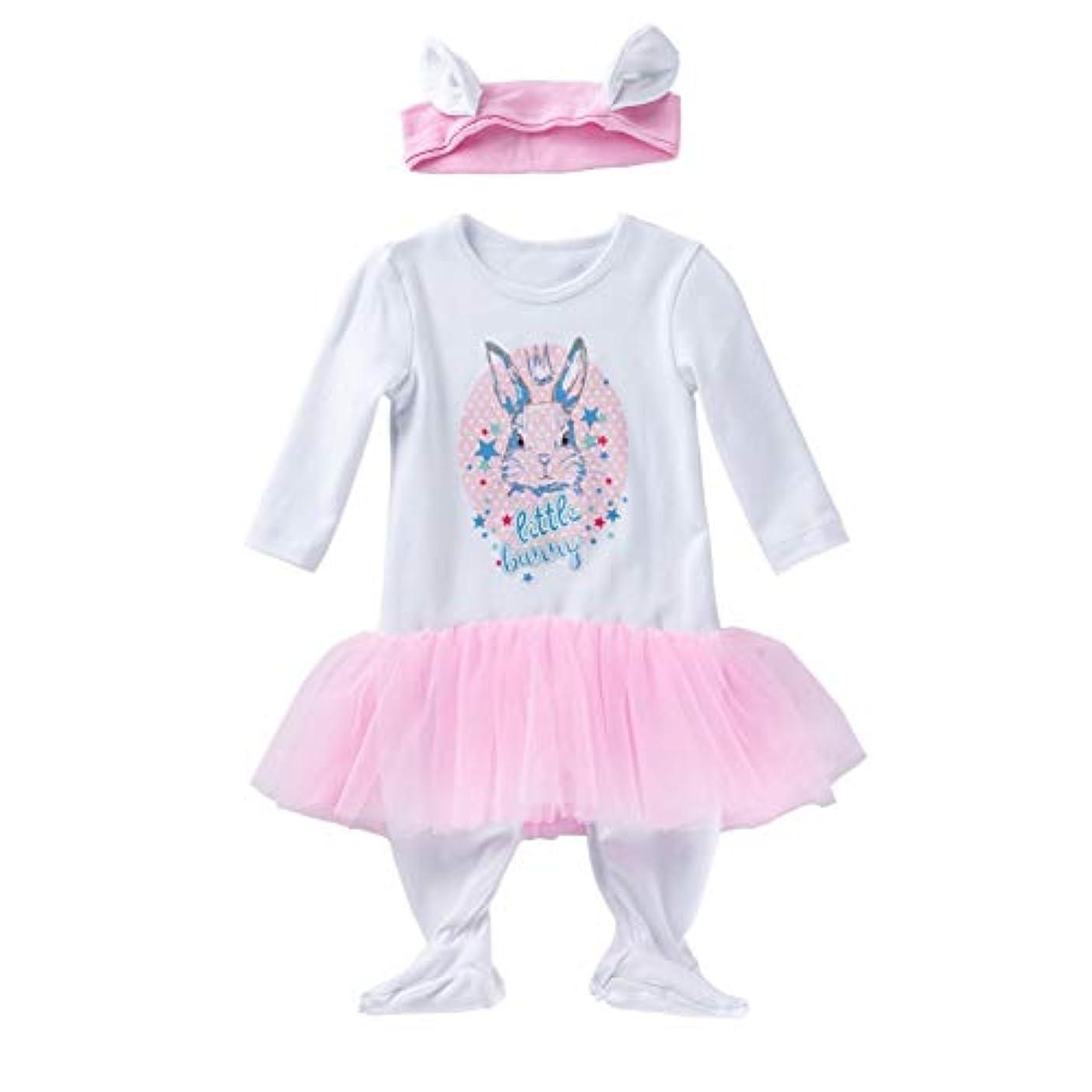 シンポジウム剣メトロポリタンRad子供 新しいスタイルのファッションの女の赤ちゃんのハロウィーンのウサギのプリント長袖ボディスーツカチューシャ2枚セット