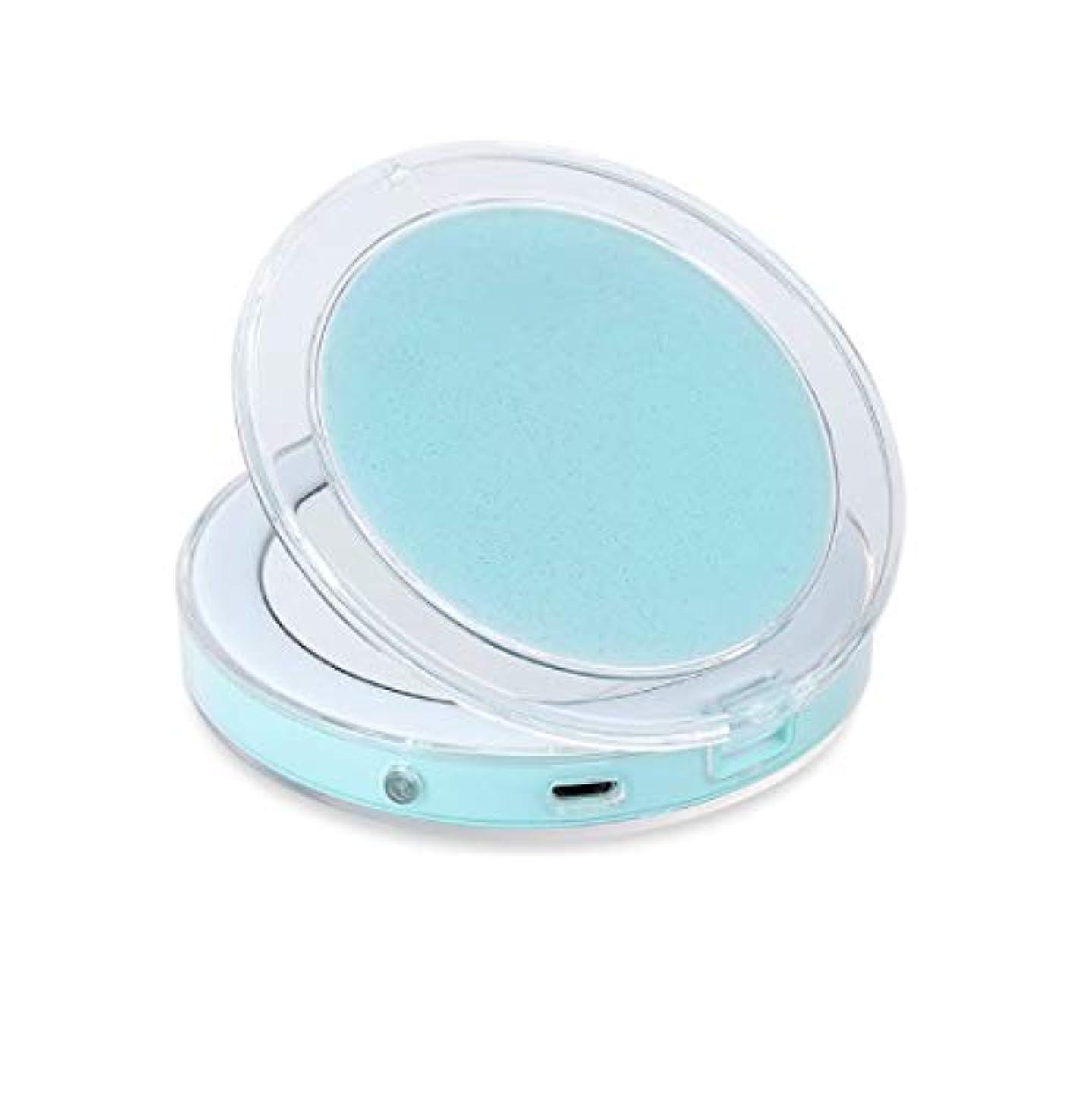 千幹珍しいミニポータブルled化粧鏡折りたたみ光化粧鏡3回小さな夜の光ミラー (Color : グリーン)