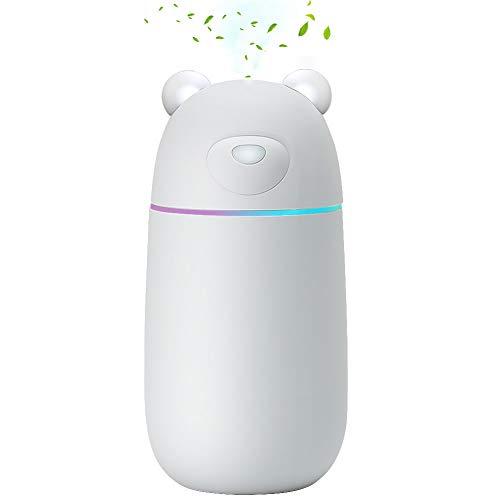 しろくま加湿器 超音波式 卓上 300mL 12時間連続加湿 車用 USB 静音 空焚き防止 オフィス 寝室 ホワイト