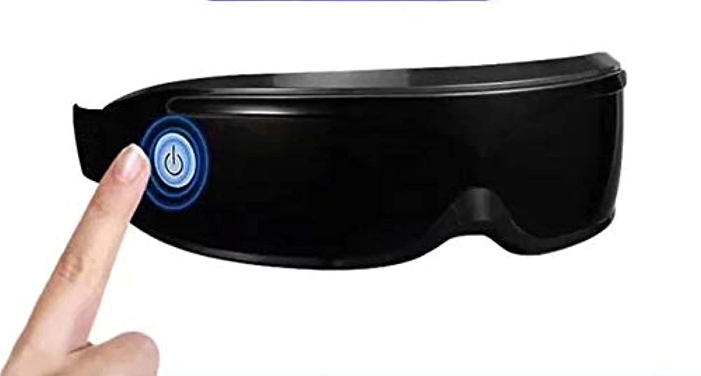 ビリーヤギユーモラス中級アイマッサージャーワイヤレスアイケアマシン圧縮振動加熱ビジョンケア目の疲れストレスリリーフ付きポータブルアイマスク (Color : Black)