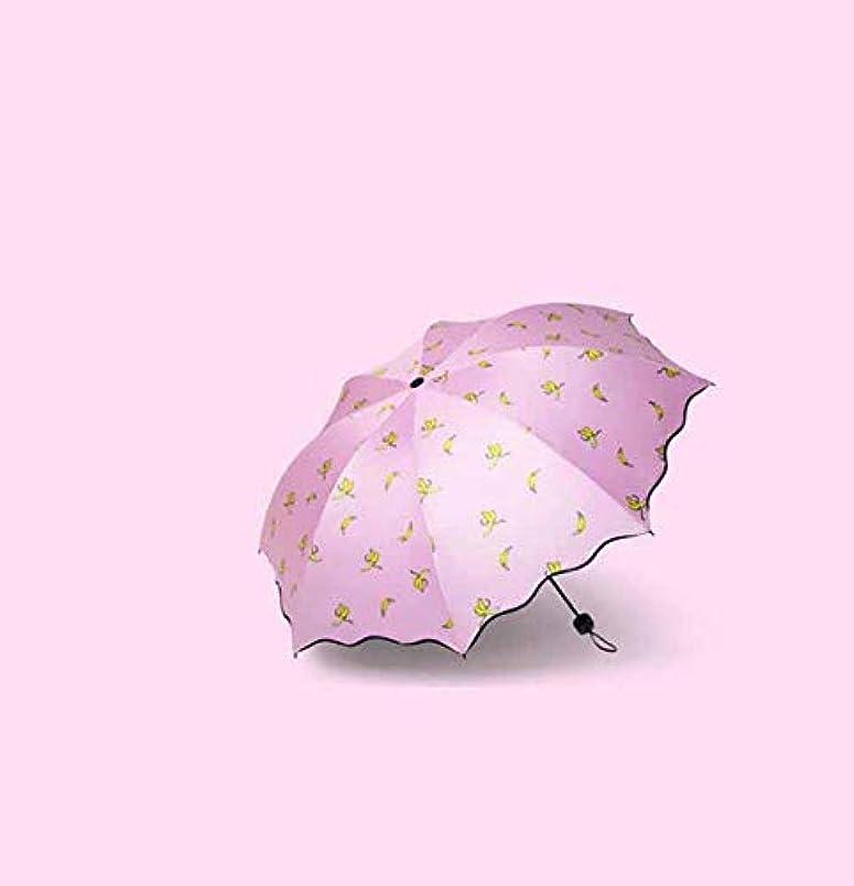 ギター岸透けるChuangshengnet 傘ビニール傘UVカット日焼け防止傘バナナ柄傘折りたたみ傘 (Color : ピンク)