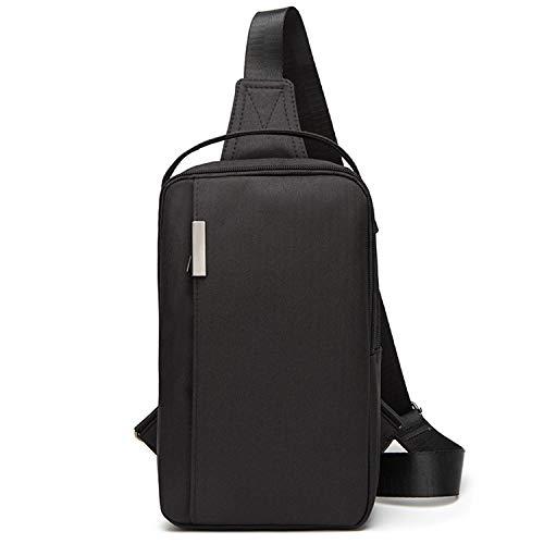 ボディバッグ (エコ.キュー) Echo.Q メンズ ワンショルダー 斜め掛け 軽量 スポーツバッグ 撥水 ナイロン バッグ ショルダーバッグ iPadmini収納可 (ブラック)