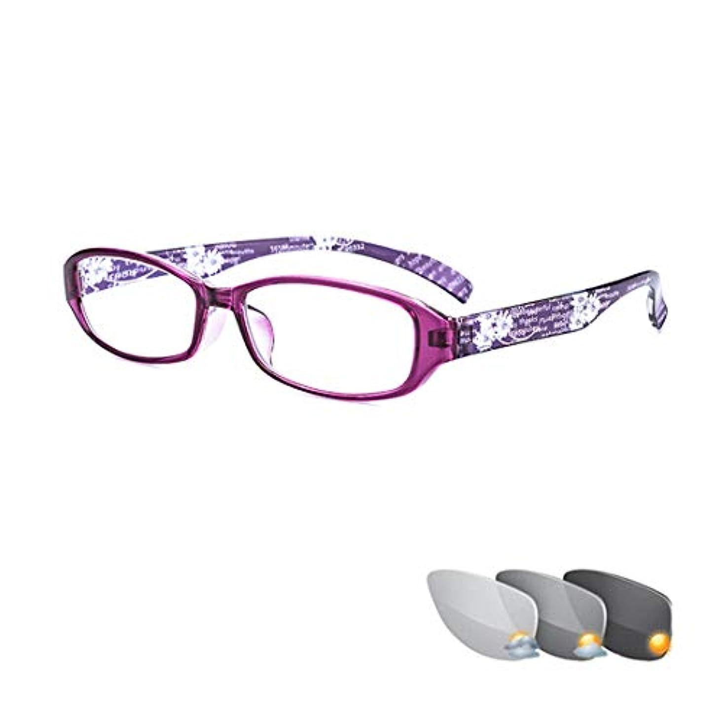 ファッション女性用老眼鏡、軽くて快適な放射線防護、紫外線防護、疲労防止メガネ、屋外変色
