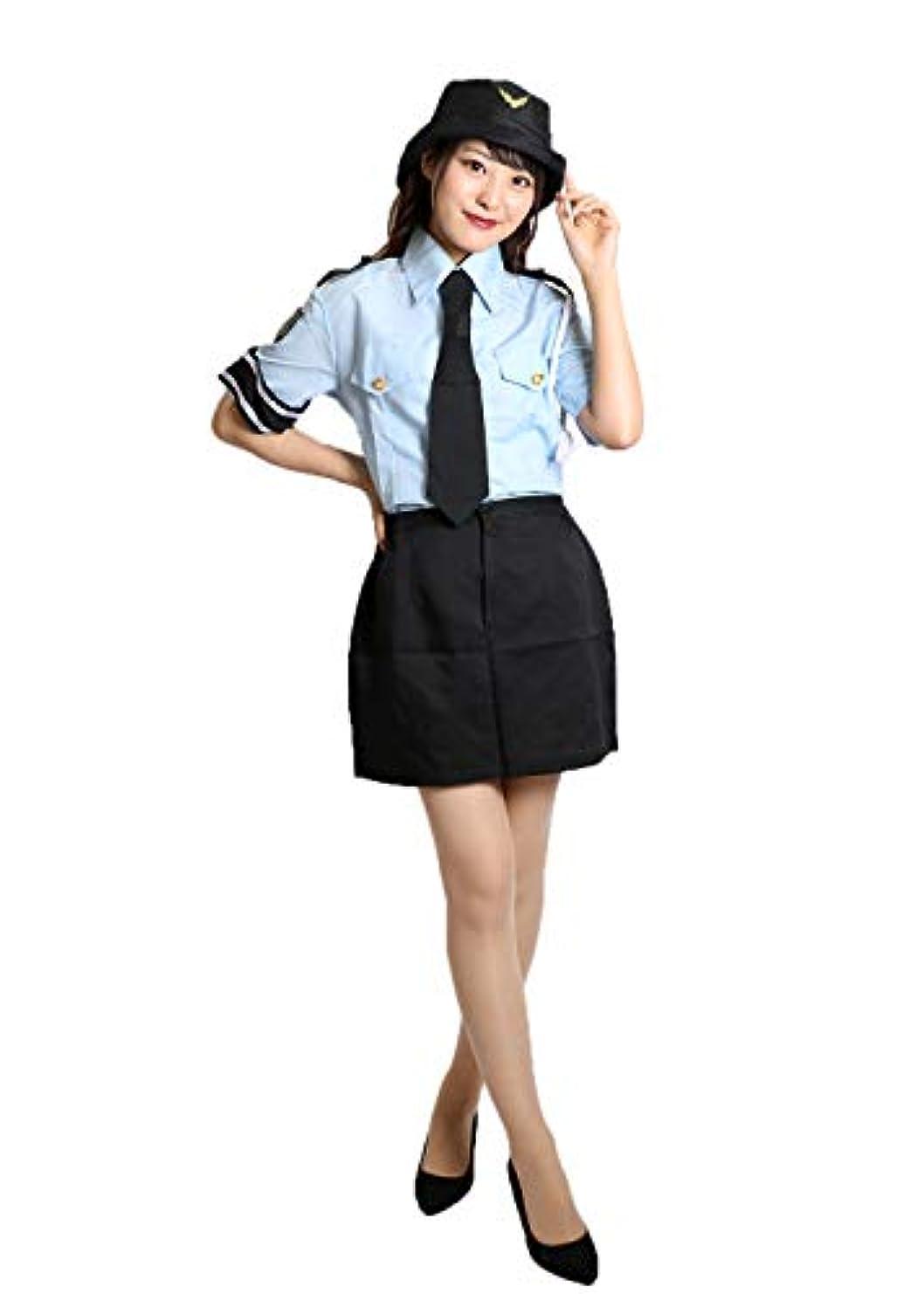 リング毎日特徴MAKE CHEERFUL ポリス コスプレ 警察官 コスプレ 衣装 レディース 大きい サイズ 4点セット (XL)