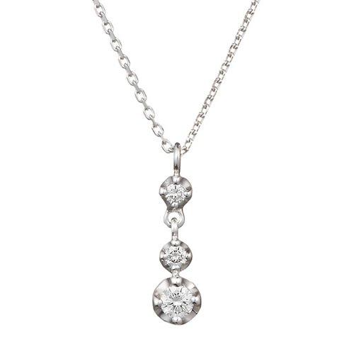 4℃ (ヨンドシー) スリーストーン ダイヤモンドK10ホワイトゴールド(WG)ネックレス 110746123204