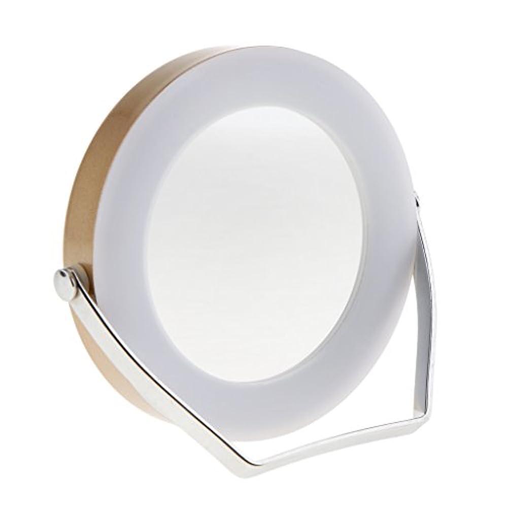 背骨住所テラスLEDミラー LEDライトタッチ鏡 化粧鏡 メイクアップ 3倍拡大鏡 360度回転 2色選べる - ゴールド