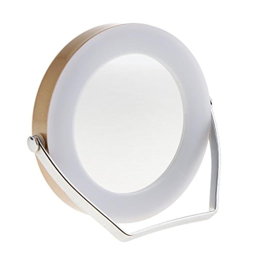 エイリアススズメバチ潜水艦LEDミラー LEDライトタッチ鏡 化粧鏡 メイクアップ 3倍拡大鏡 360度回転 2色選べる - ゴールド