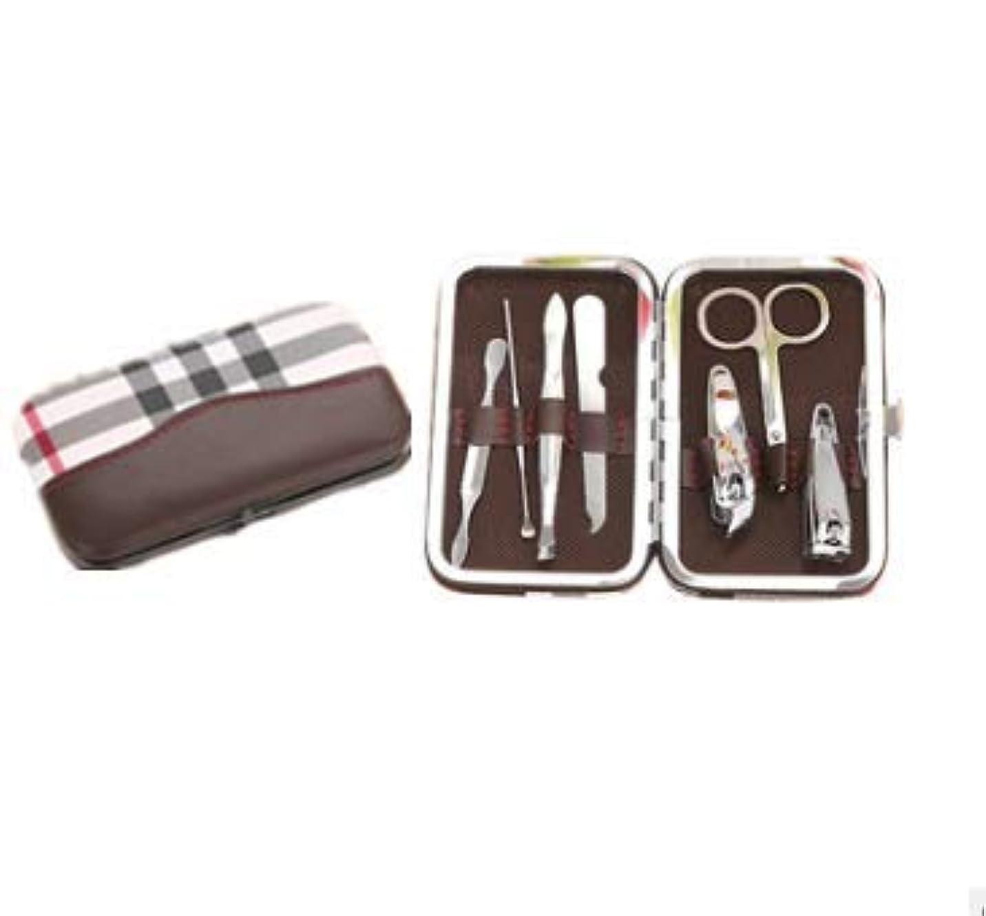 爪切り 高級 鋼製 手足用 爪切り 爪やすり 金属ケース付き 旅行 ギフト 出張 便利グッズ 家庭用品 (ブラウン)