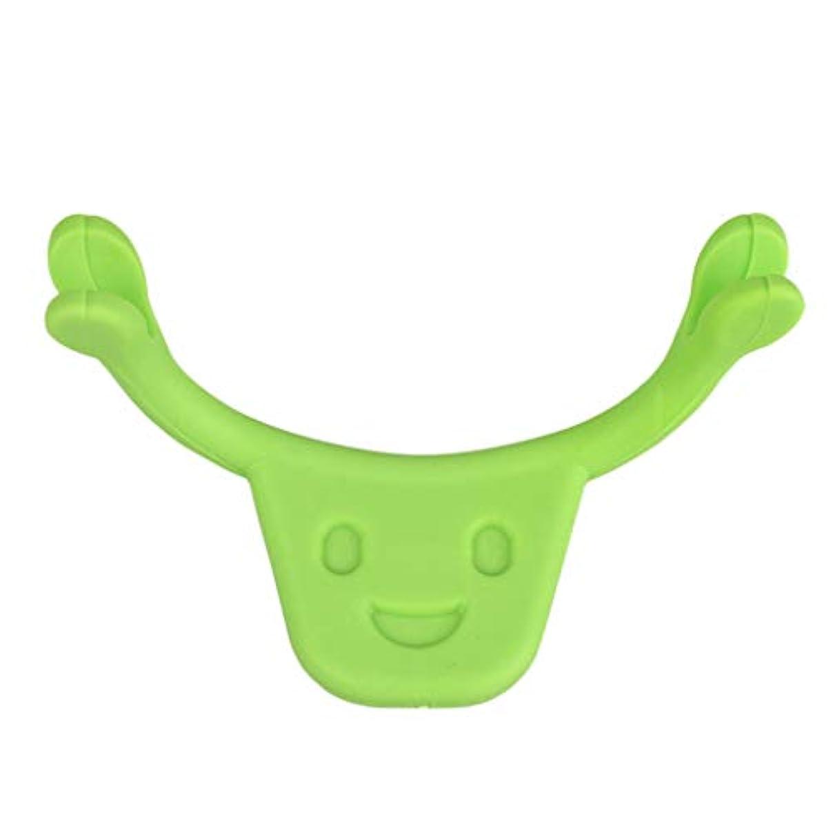 地獄談話ゴム表情筋 トレーニング 小顔 ストレッチ 笑顔 トレーニング器具 フェイスエクササイズ ツール 全2色 - 緑
