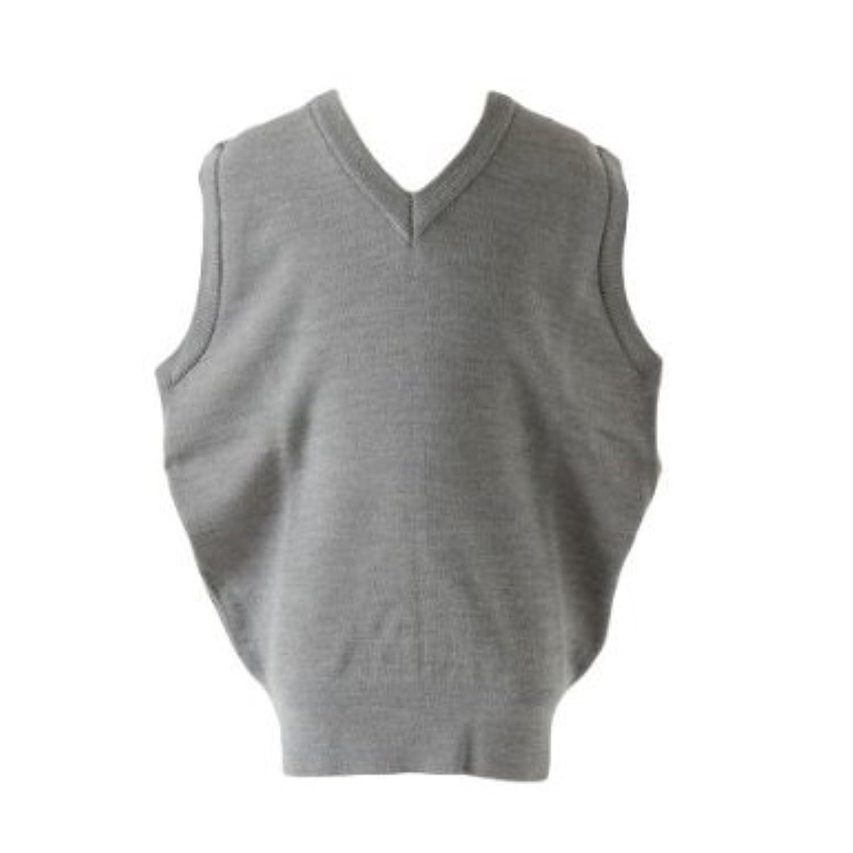日本毛織製 ウォッシャブルVネックベスト グレー