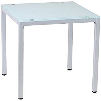 10mm厚 強化ガラス ダイニングテーブル 75X75cm ホワイト (白) 2人用 PA-7575-WH