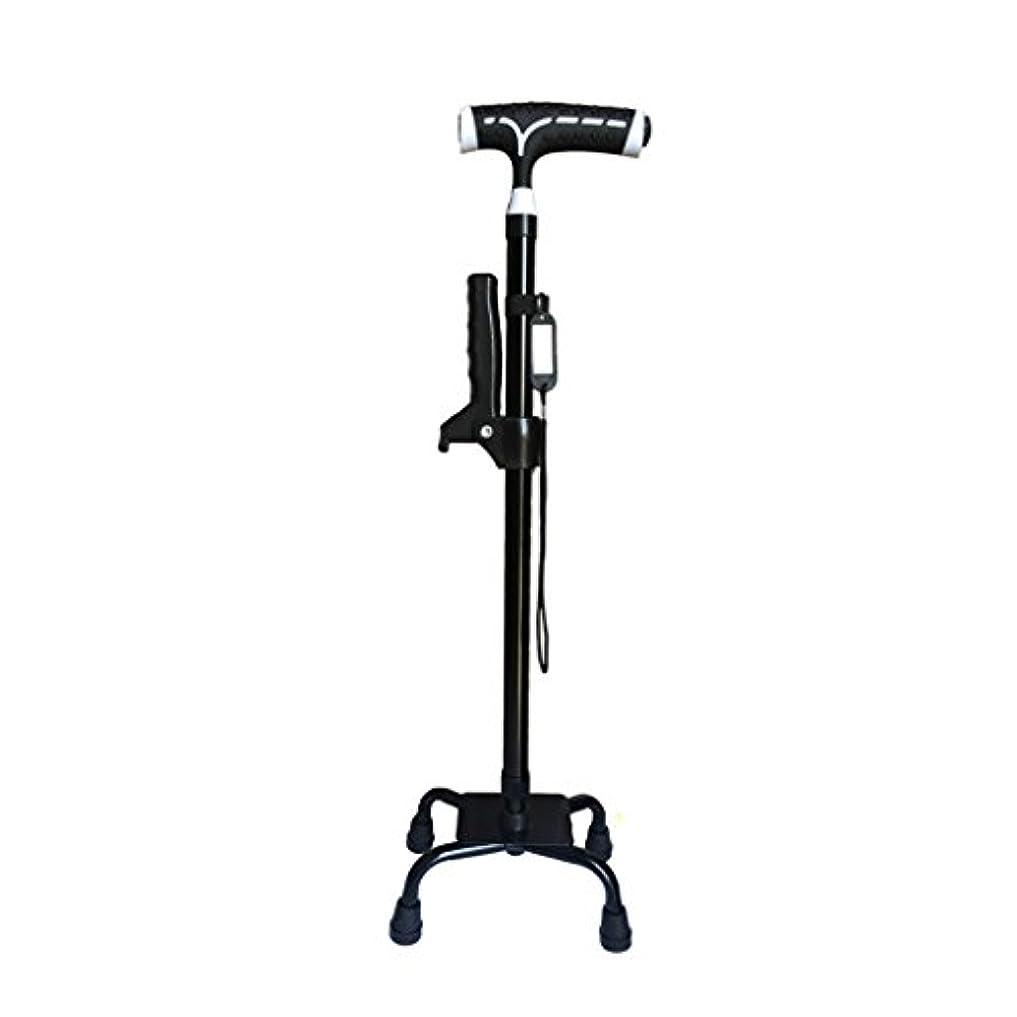 深い増加する発送WENJUN LEDライトで歩く杖を折るオールドマンケーン4フィート超軽量ノンスリップシニアは軽い多機能で調節可能な松葉杖 (色 : ブラック)