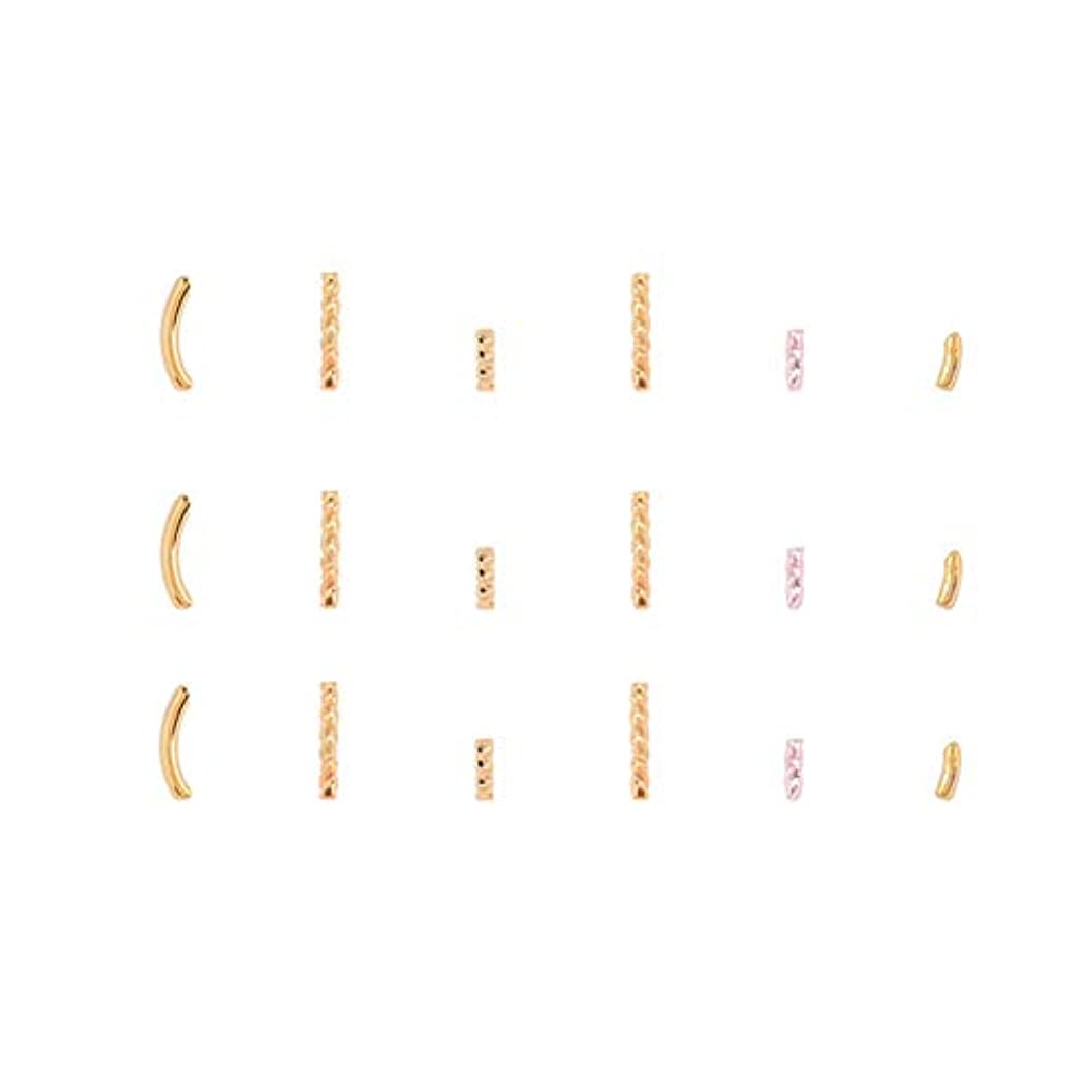 便宜タフ常習者メタルビーズ半分スレッドリベット爪の補修金メッキ金属ステープル(パラ05)
