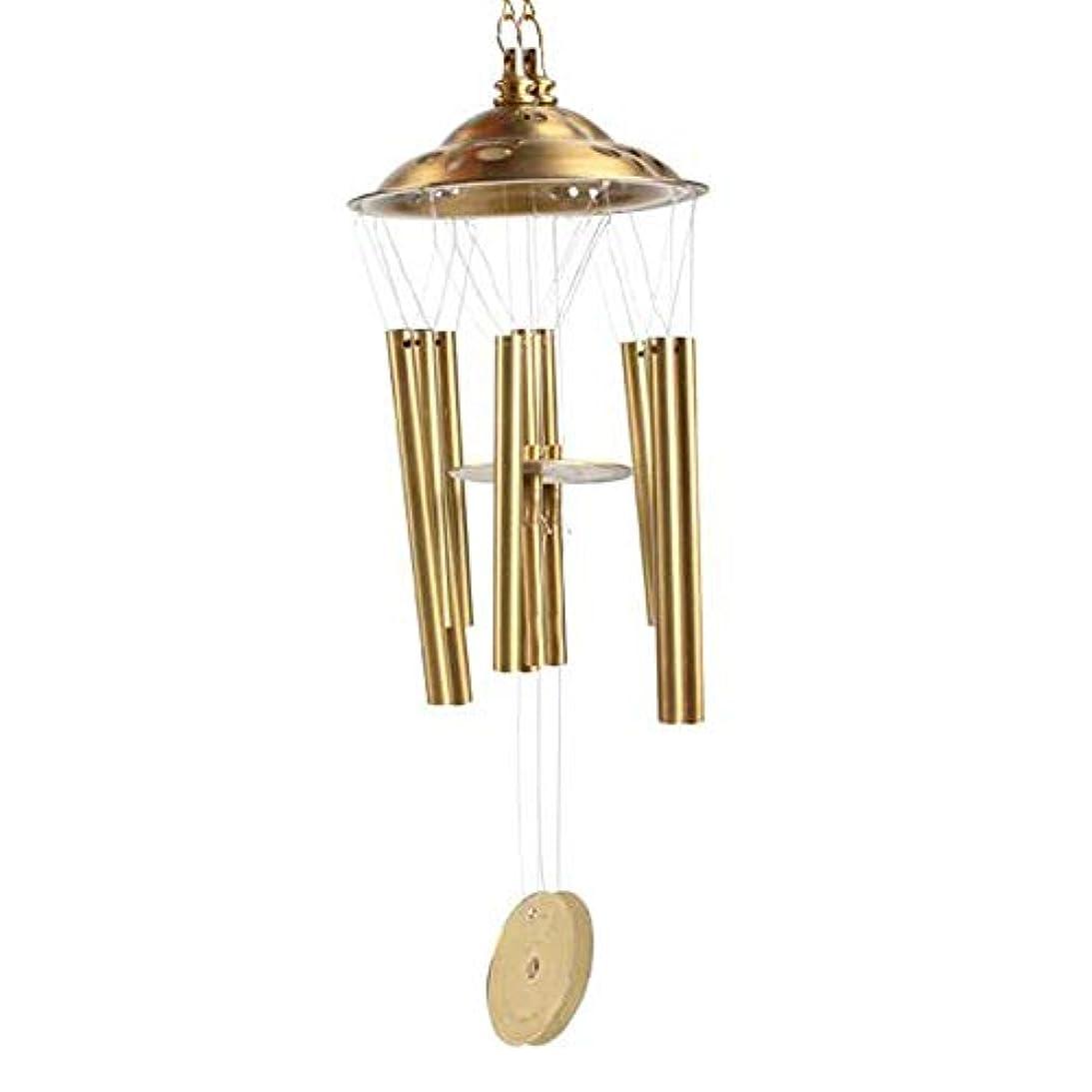 財産焦げミュートHongyuantongxun 風チャイム、銅6チューブ風チャイム、ゴールド、全身約2.5インチ,、装飾品ペンダント (Size : 3 inches)