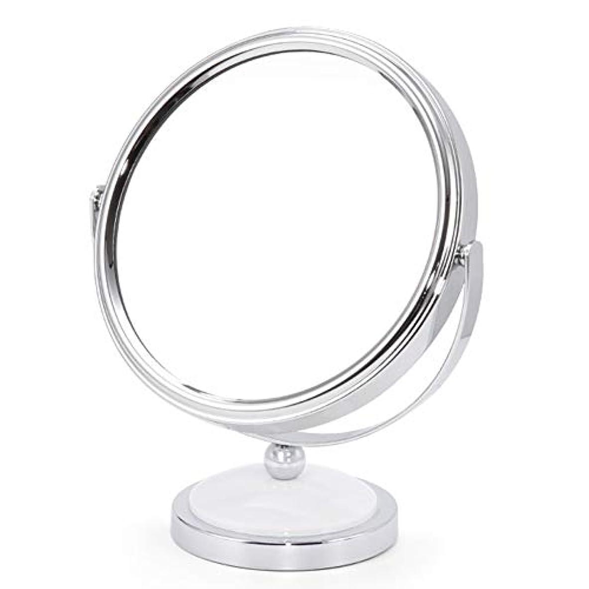 妻運動有名ミラー 鏡 化粧鏡 デスクトッププリンセスミラー拡大鏡両面ドレッシングテーブル360度回転 ZHANGAIZHEN (色 : 白, サイズ さいず : Large)