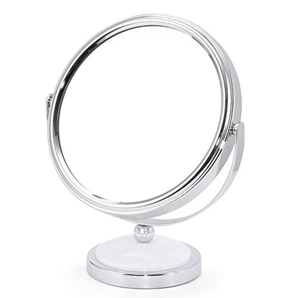 精神医学険しい弱めるミラー 鏡 化粧鏡 デスクトッププリンセスミラー拡大鏡両面ドレッシングテーブル360度回転 ZHANGAIZHEN (色 : 白, サイズ さいず : Large)