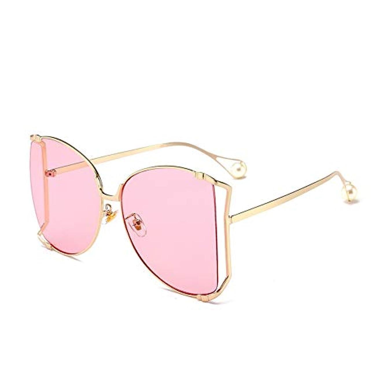 却下する罹患率広大なQ AI NI オーバーサイズフレームメタルサングラス複数色オプションのレトロサングラス 毎日の旅行用サングラス (Color : Gold powder)