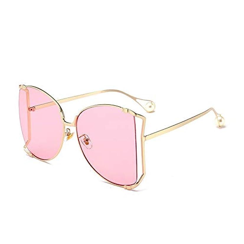 貫通本会議チェリーQ AI NI オーバーサイズフレームメタルサングラス複数色オプションのレトロサングラス 毎日の旅行用サングラス (Color : Gold powder)