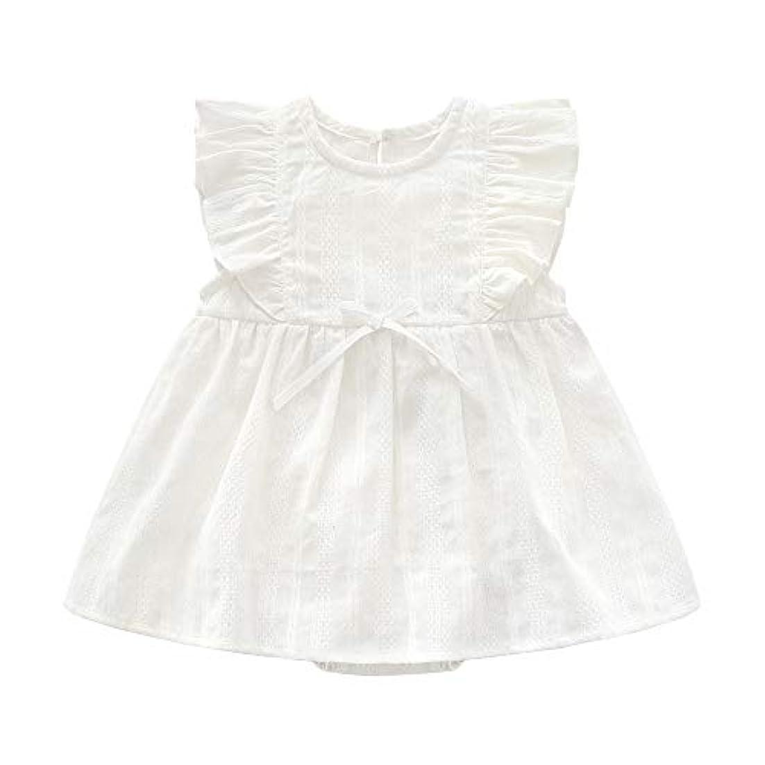 緩めるキャプテンブライ含意JunNeng ベビー スカート ワンピース ノースリーブ 夏 赤ちゃん服 ボディースーツ スカート付き フリル 無地 ロンパース 女の子 可愛い ホワイト 73cm