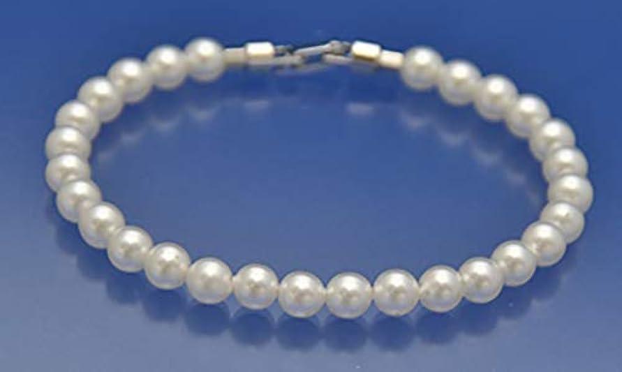 エーカー色独立したDr.Silicone 真珠スタイル健康パワーブレスレット(白色6mm珠21cm):身に着けると遠赤外線が良い影響をもたらします!