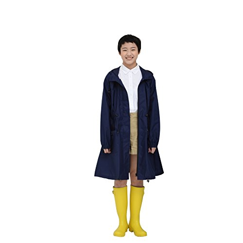 tiohoh レインコート レディース 合羽 女性用 撥水 雨具 防水 収納袋付き 通学 便利 な ファスナー フード付き 調整可能 軽量 おしゃれ 無地 落ち着いたカラー (ネイビー)