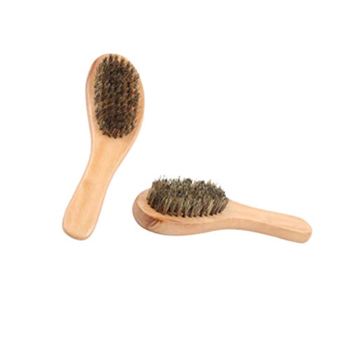 パンチキネマティクス区別SUPVOX 靴磨き用ブラシ磨き靴用ブラシ剛毛クリーニングブラシ家庭用ショップ用ウッドハンドル付きクリーナー2pcs(カラー1)