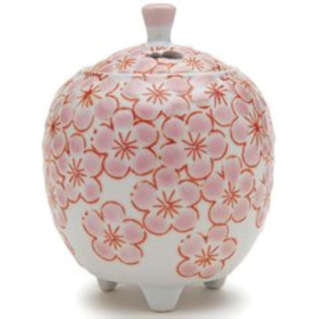 気候振動する普通に香炉 流麗 花詰 ピンク (九谷焼)
