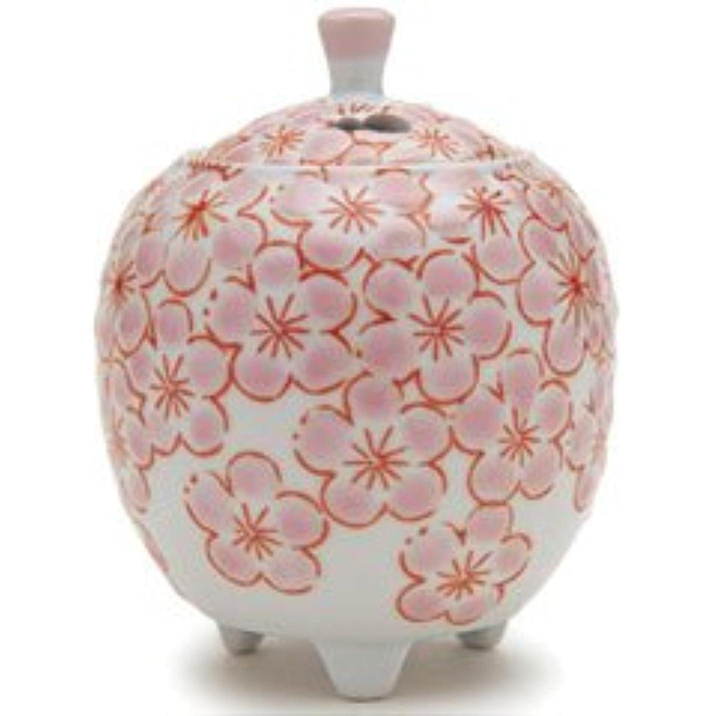 大陸今日顕著香炉 流麗 花詰 ピンク (九谷焼) 【日本香堂】