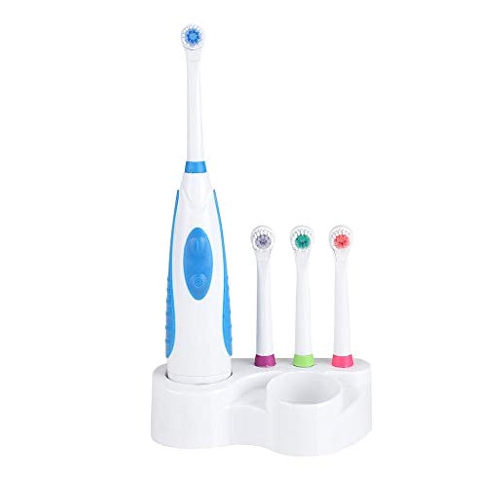 反逆チャンピオンねばねば電動歯ブラシ3個の交換用ヘッドとホルダー付き電動歯ブラシホワイトニングクレンジングオーラルケア(Blue)