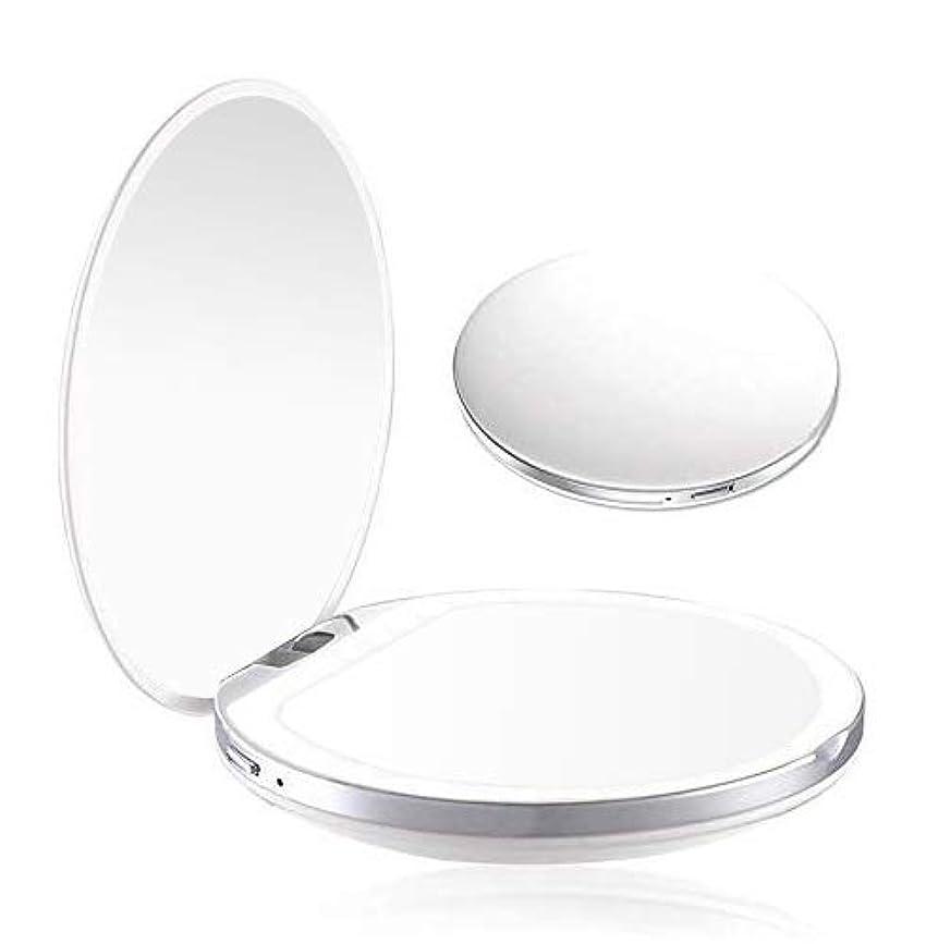 海上付録攻撃的携帯ミラー 化粧鏡 LED手鏡 両面ミラー 折り畳み式鏡 コンパクトミラー 3倍拡大 持ちやすい ファッション 便利軽量 ファッション USB充電 明るさ調節可能 (ホワイト)