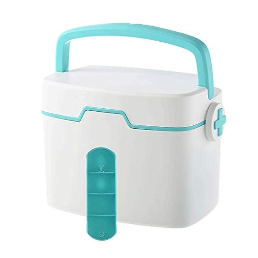 できるブロッサムサルベージピルボックスPP 35 * 25 * 24 cm家庭用薬ボックス薬収納ボックス (色 : 青)