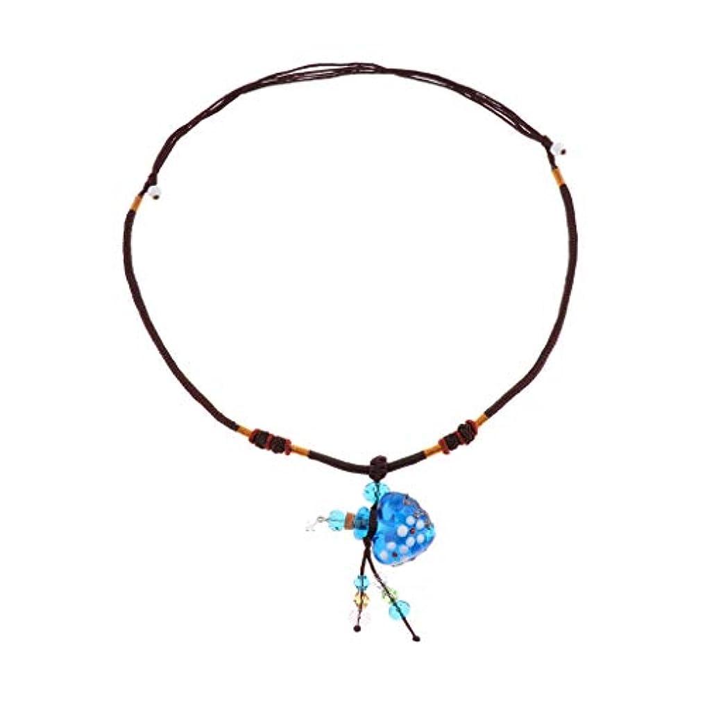 コスト砂椅子Perfeclan ガラス香水瓶 ペンダント ネックレス オイルディフューザー バイアル 3色選べ - 青