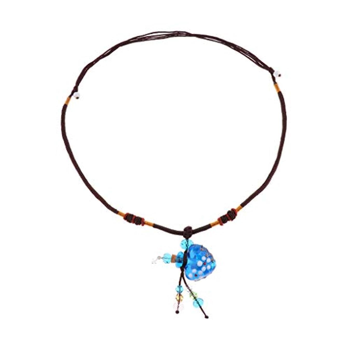 パトロール王位正しくPerfeclan ガラス香水瓶 ペンダント ネックレス オイルディフューザー バイアル 3色選べ - 青