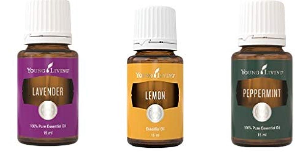 自我会う志すヤングリビングイントロキットペパーミント、ラベンダーとレモン15 ml +送料無料 Young Living Intro Kit Peppermint, Lavender and Lemon 15 ml +Free Standard...